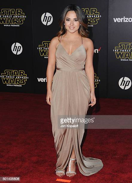 Singer Becky G arrives at the Los Angeles Premiere 'Star Wars The Force Awakens' on December 14 2015 in Hollywood California