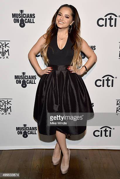 Singer Becky G attends Musicians On Call Rock The Room Tour at Greystone Manor on December 1 2015 in West Hollywood California Musicians On Call...