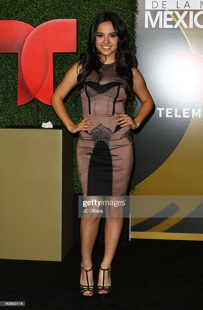 Singer <a gi-track='captionPersonalityLinkClicked' href=/galleries/search?phrase=Becky+G&family=editorial&specificpeople=9754027 ng-click='$event.stopPropagation()'>Becky G</a> poses for a photograph at The 2013 Billboard Mexican Music Awards - Press Room at Dolby Theatre on October 9, 2013 in Hollywood, California.