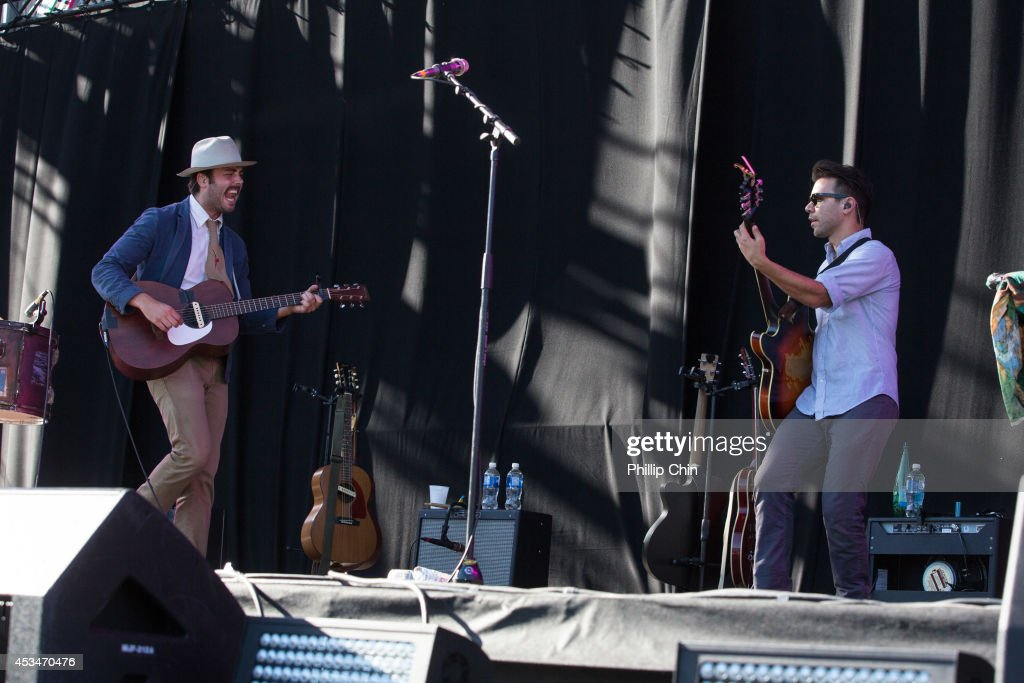 Singer Ben Schneider and guitarist Tom Renaud of Lord Huron perform at the Squamish Valley Music Festival on August 10, 2014 in Squamish, Canada.