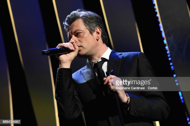 Singer Benjamin Biolay performs performs at the Closing Ceremony during the 70th annual Cannes Film Festival at Palais des Festivals on May 28 2017...