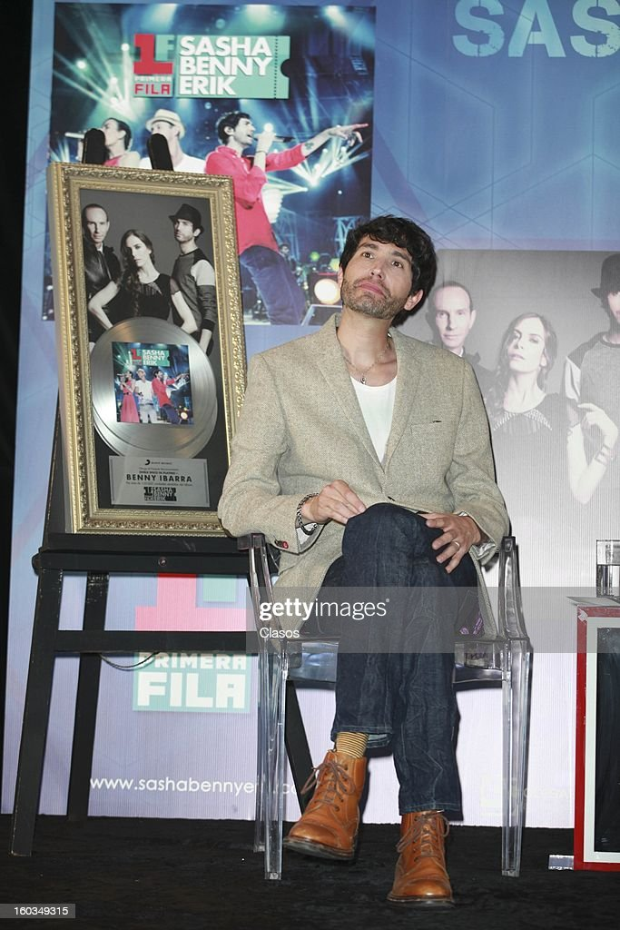 Singer Benny looks on during the press conference in which they were awarded with a platinum disc at Presidente Intercontinental Hotel on January 29, 2013 in Mexico City, Mexico.
