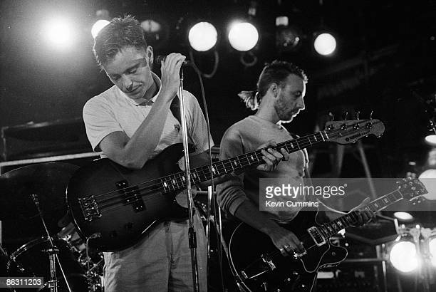 Singer Bernard Sumner and bassist Peter Hook of English rock group New Order performing at the Paradise Garage New York City 7th July 1983