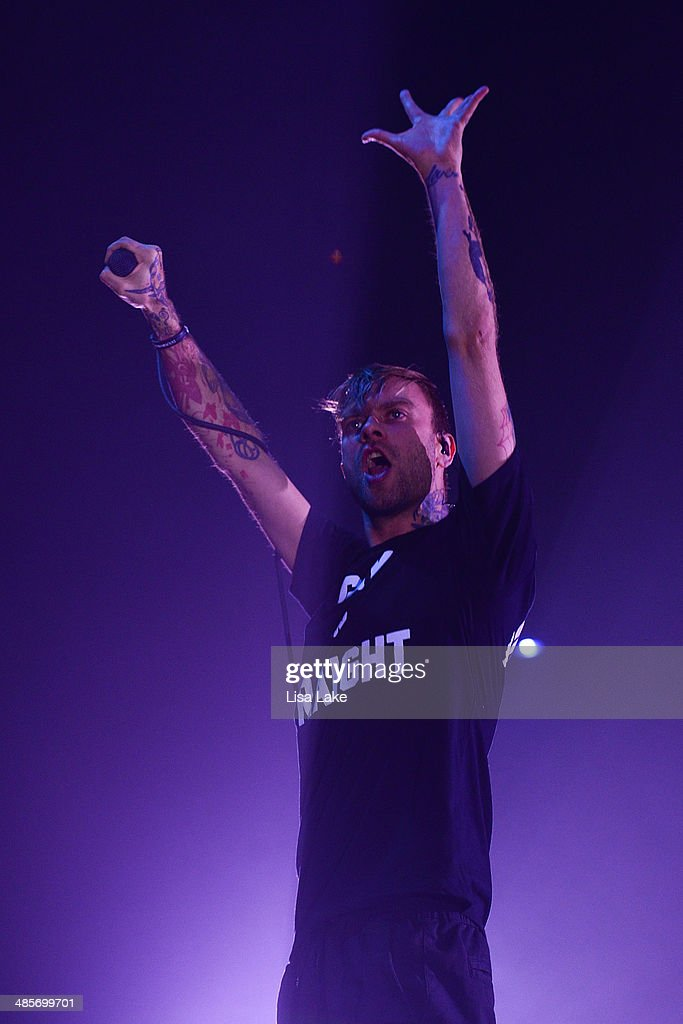 Singer <a gi-track='captionPersonalityLinkClicked' href=/galleries/search?phrase=Bert+McCracken&family=editorial&specificpeople=2216927 ng-click='$event.stopPropagation()'>Bert McCracken</a> of The Used performs at Sands Bethlehem Event Center on April 19, 2014 in Bethlehem, Pennsylvania.
