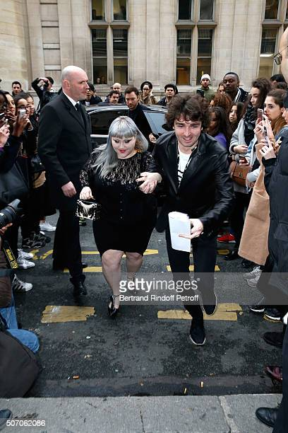Singer Beth Ditto arrives at the Jean Paul Gaultier Spring Summer 2016 show as part of Paris Fashion Week on January 27 2016 in Paris France
