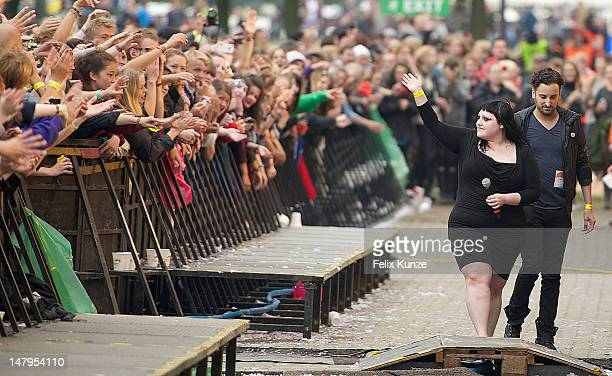 Singer Beth Ditto of The Gossip performs on stage during day 2 of the Roskilde Festival 2012 on July 6 2012 in Roskilde Denmark