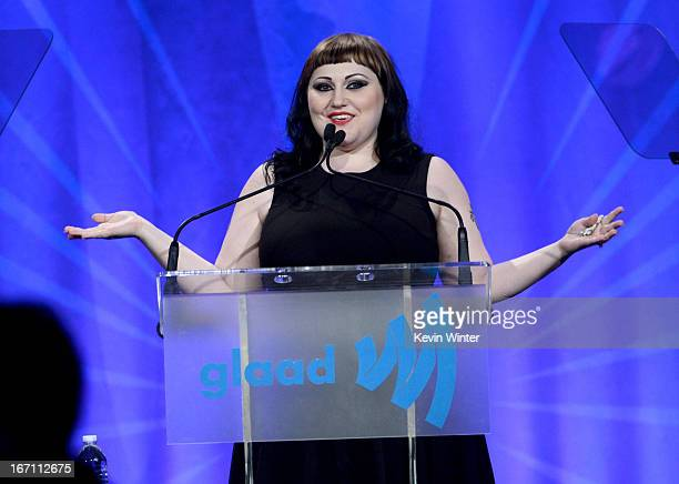 Singer Beth Ditto speaks onstage during the 24th Annual GLAAD Media Awards at JW Marriott Los Angeles at LA LIVE on April 20 2013 in Los Angeles...