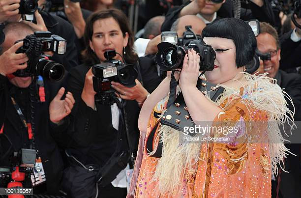 Singer Beth Ditto takes a picture on the red carpet as she attends the 'Outside Of The Law' Premiere at the Palais des Festivals during the 63rd...