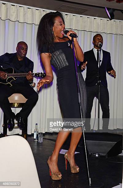 Singer Beverley Knight performs at Quaglino's on November 19 2014 in London England