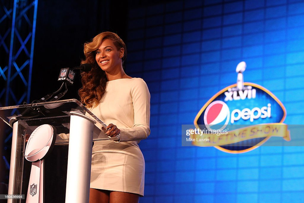 Singer Beyonce addresses the media during the Pepsi Super Bowl XLVII Halftime Show press conference at the media center on January 31, 2013 in New Orleans, Louisiana. Beyonce will perform at halftime as the San Francisco 49ers will take on the Baltimore Ravens on February 3, 2013 at the Mercedes-Benz Superdome.