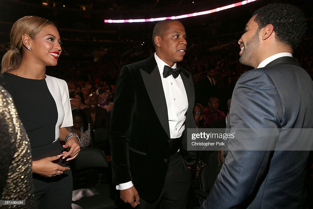 Singer Beyonce and hip-hop artists Jay Z and Drake attend the 55th Annual GRAMMY Awards at STAPLES Center on February 10, 2013 in Los Angeles, California.