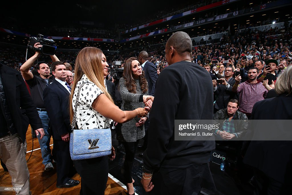 Singer Beyonce and Husband JayZ greets The Duchess of Cambridge in the game of the Cleveland Cavaliers against the Brooklyn Nets at the Barclays...