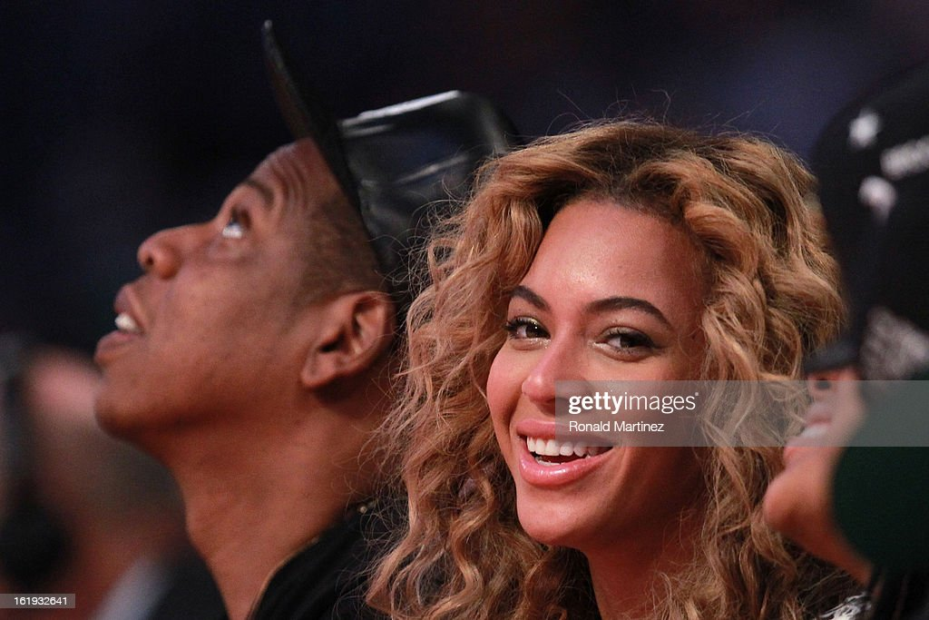 Singer Beyonce and Jay-Z attend the 2013 NBA All-Star game at the Toyota Center on February 17, 2013 in Houston, Texas.