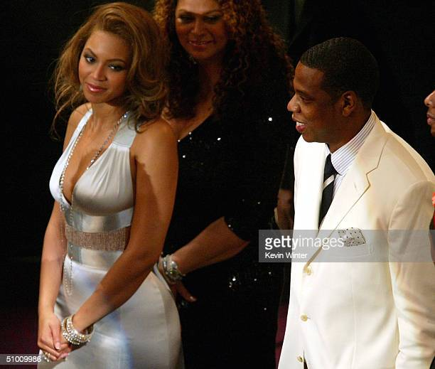 Singer Beyonce and Musician JayZ watch Rick James on stage at the 2004 Black Entertainment Awards held at the Kodak Theatre on June 29 2004 in...
