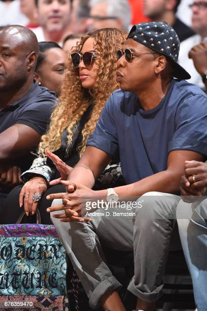 Singer Beyonce and Rapper Jay Z attend Game Seven of the Western Conference Quarterfinals between the Utah Jazz and the LA Clippers during the 2017...