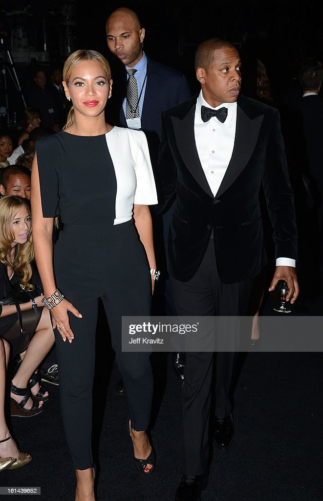 Singer Beyonce and rapper Jay-Z attend the 55th Annual GRAMMY Awards at Staples Center on February 10, 2013 in Los Angeles, California.