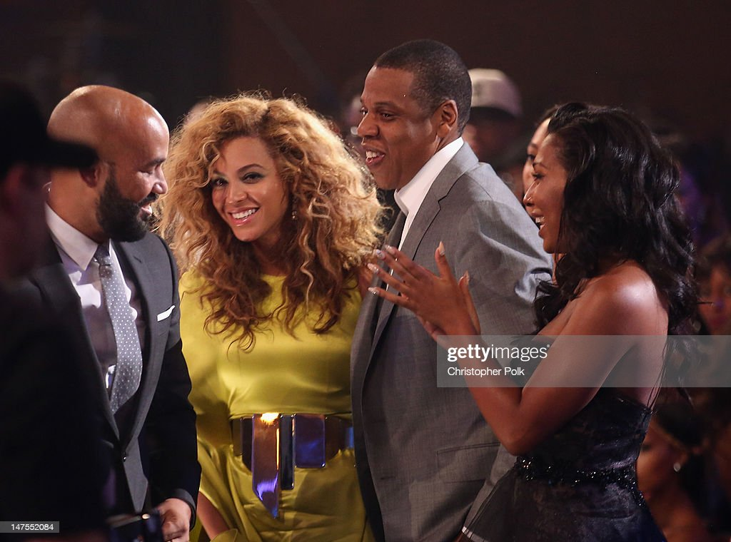 Singer Beyonce and rapper Jay-Z in the audience during the 2012 BET Awards at The Shrine Auditorium on July 1, 2012 in Los Angeles, California.