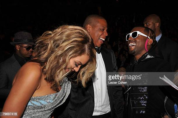 LOS ANGELES CA FEBRUARY 10 Singer Beyonce and rappers JayZ and Kanye West at the 50th Annual GRAMMY Awards at the Staples Center on February 10 2008...