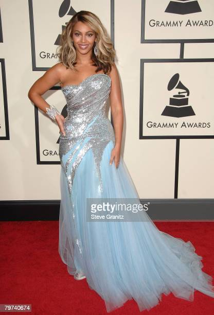 Singer Beyonce arrives to the 50th Annual GRAMMY Awards at the Staples Center on February 10 2008 in Los Angeles California