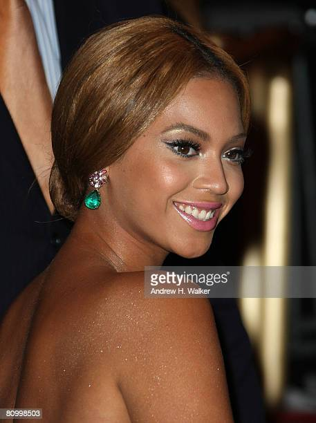 Singer Beyonce arrives to the Metropolitan Museum of Art Costume Institute Gala Superheroes Fashion and Fantasy held at the Metropolitan Museum of...