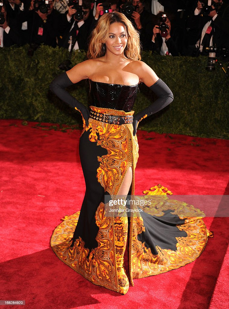 Singer Beyonce attends the Costume Institute Gala for the 'PUNK: Chaos to Couture' exhibition at the Metropolitan Museum of Art on May 6, 2013 in New York City.