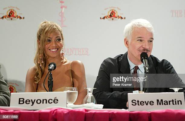 Singer Beyonce Knowles and actor Steve Martin attend a press conference to announce the start of production of 'The Pink Panther' movie May 7 2004 in...