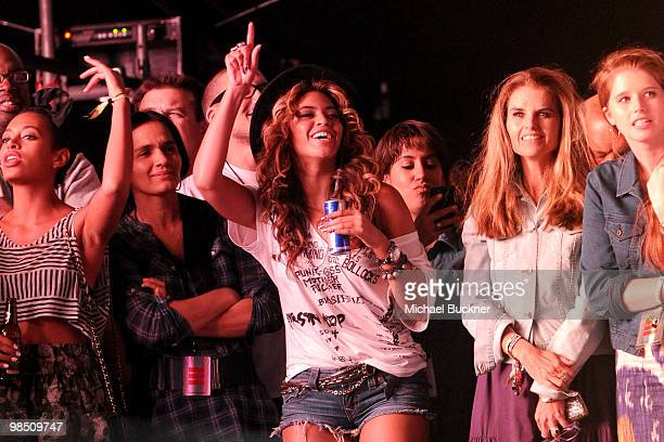 Singer Beyonce Knowles and actress Maria Shriver seen during Day 1 of the Coachella Valley Music Art Festival 2010 held at the Empire Polo Club on...