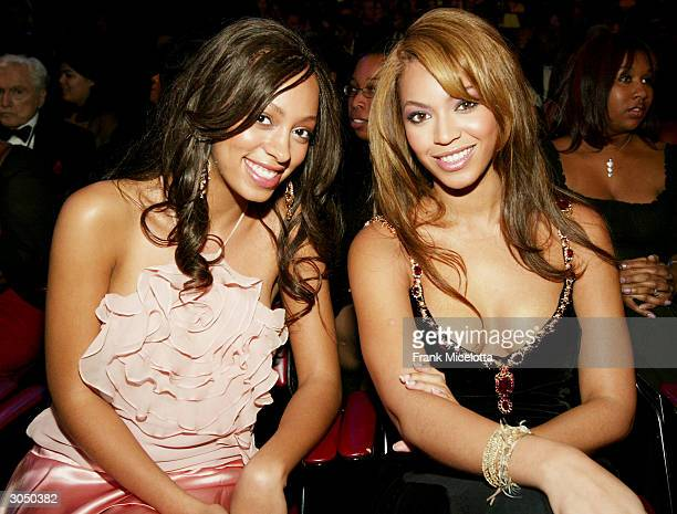 Singer Beyonce Knowles and her sister singer Solange sit in the audience at the 35th Annual NAACP Image Awards held at the Universal Amphitheatre...