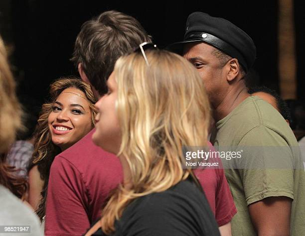 Singer Beyonce Knowles and rapper JayZ in the audience during day two of the Coachella Valley Music Arts Festival 2010 held at the Empire Polo Club...