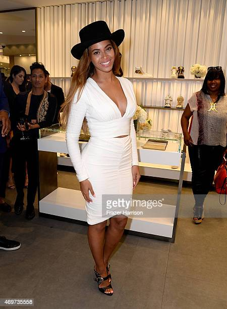Singer Beyonce Knowles attends the Giuseppe Zanotti Beverly Hills Store Opening on April 14 2015 in Beverly Hills California