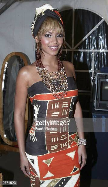 Singer Beyonce Knowles backstage at the '46664 Give One Minute of Your Life to AIDS' concert at Greenpoint Stadium on November 29 2003 in Cape Town...