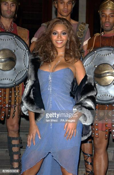 Singer Beyonce Knowles during the Pepsi Gladiator TV Commercial global premiere at the National Gallery in Trafalgar Square central London The ad...