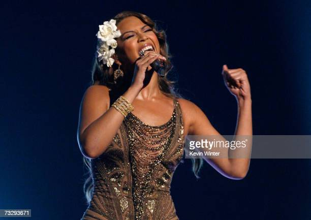 Singer Beyonce Knowles performs 'Listen' onstage at the 49th Annual Grammy Awards at the Staples Center on February 11 2007 in Los Angeles California