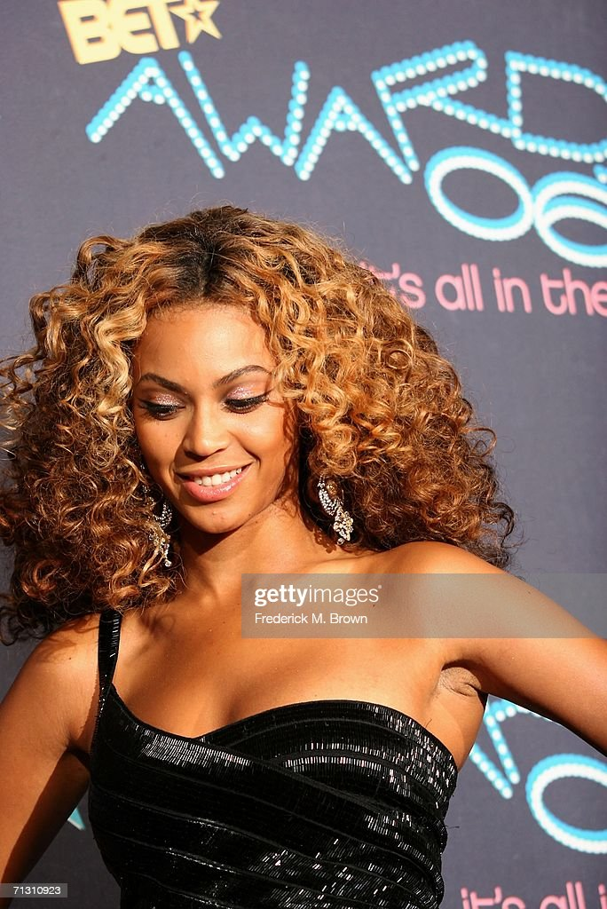 Singer Beyonce Knowles poses in the press room at the 2006 BET Awards at the Shrine Auditorium on June 27 2006 in Los Angeles California