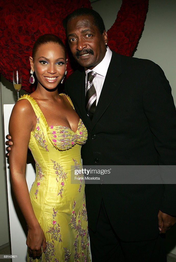 Singer <a gi-track='captionPersonalityLinkClicked' href=/galleries/search?phrase=Beyonce+Knowles&family=editorial&specificpeople=171204 ng-click='$event.stopPropagation()'>Beyonce Knowles</a> poses with her father and manager Matthew Knowles at the 'Beyonce: Beyond the Red Carpet auction presented by Beyonce and her mother Tina Knowles along with the House of Dereon to benefit the VH1 Save The Music Foundation June 23, 2005 in New York City. The exhibition will showcase 18-24 costumes worn by Beyonce chronicling her film, television and video appearances.