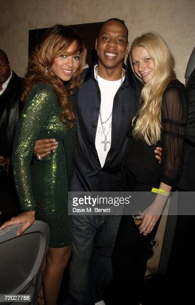 Singer Beyonce Knowles rapper JayZ and actress Gwyneth Paltrow attend the after party following the concert by JayZ at The Royal Albert Hall at...
