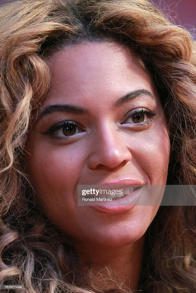 Singer Beyonce looks on before the 2013 NBA All-Star game at the Toyota Center on February 17, 2013 in Houston, Texas.