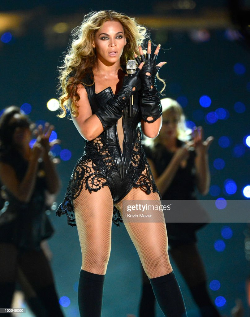 Singer Beyonce performs during the Pepsi Super Bowl XLVII Halftime Show at Mercedes-Benz Superdome on February 3, 2013 in New Orleans, Louisiana.