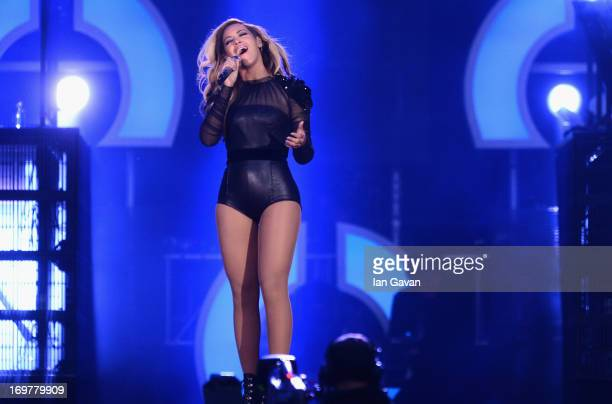 Singer Beyonce performs on stage at the 'Chime For Change The Sound Of Change Live' Concert at Twickenham Stadium on June 1 2013 in London England...