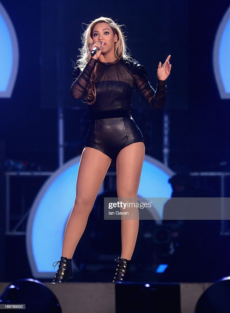 Singer Beyonce performs on stage at the 'Chime For Change: The Sound Of Change Live' Concert at Twickenham Stadium on June 1, 2013 in London, England. Chime For Change is a global campaign for girls' and women's empowerment founded by Gucci with a founding committee comprised of Gucci Creative Director Frida Giannini, Salma Hayek Pinault and Beyonce Knowles-Carter.