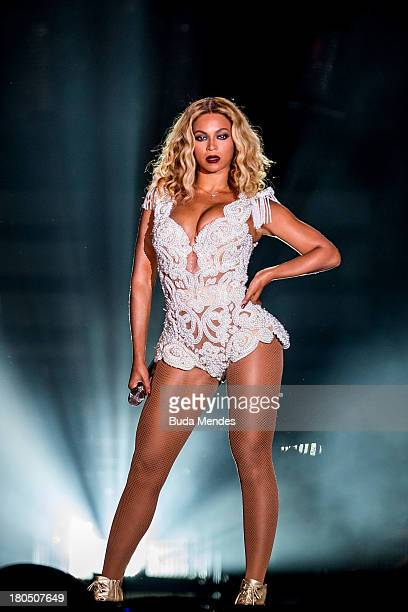 Singer Beyonce performs on stage during a concert in the Rock in Rio Festival on September 13 2013 in Rio de Janeiro Brazil