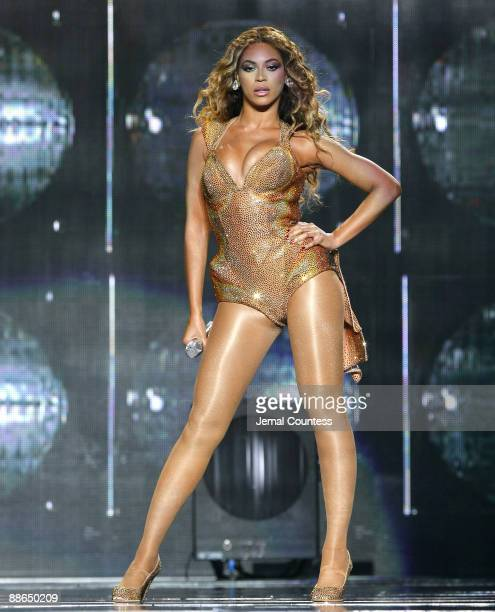 Singer Beyonce performs on the opening night of her 2009 Tour at Madison Square Garden on June 21 2009 in New York City