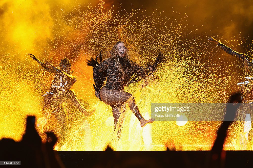 Singer Beyonce performs onstage during the 2016 BET Awards at the Microsoft Theater on June 26, 2016 in Los Angeles, California.