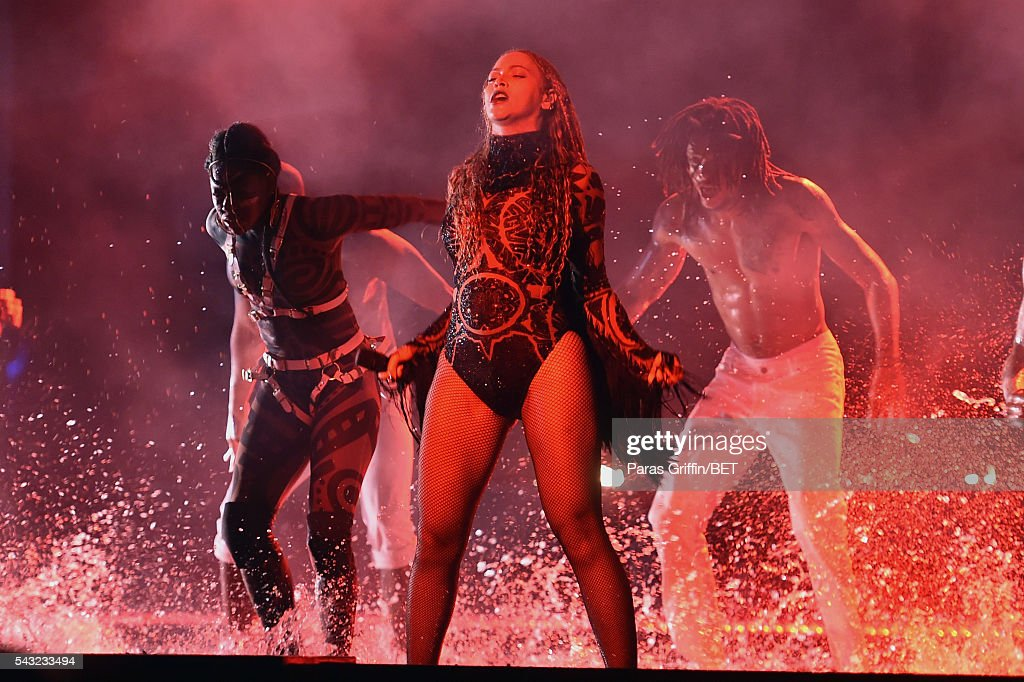 Singer Beyonce (C) performs onstage during the 2016 BET Awards at the Microsoft Theater on June 26, 2016 in Los Angeles, California.