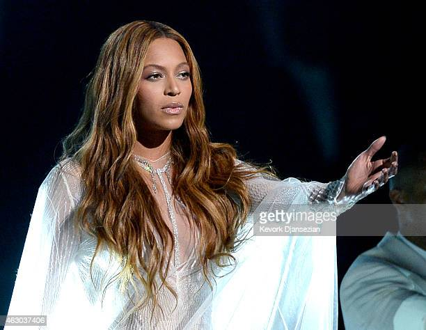 Singer Beyonce performs 'Precious Lord Take My Hand' onstage during The 57th Annual GRAMMY Awards at the at the STAPLES Center on February 8 2015 in...