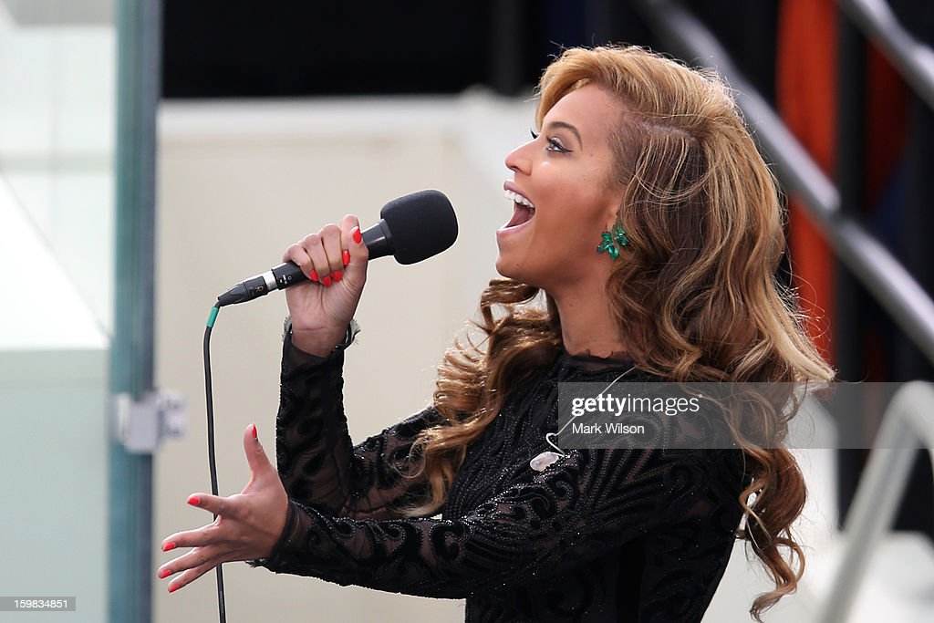 Singer Beyonce performs the National Anthem during the public ceremonial inauguration for U.S. President Barack Obama on the West Front of the U.S. Capitol January 21, 2013 in Washington, DC. Barack Obama was re-elected for a second term as President of the United States.