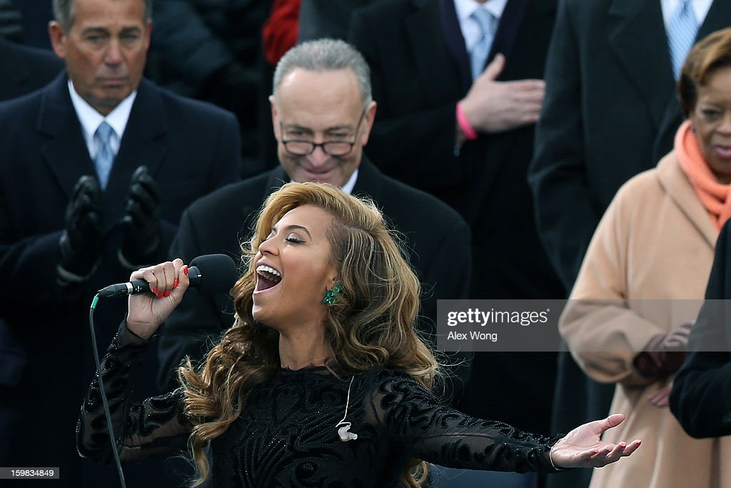 Singer Beyonce performs the National Anthem during the public ceremonial inauguration on the West Front of the U.S. Capitol January 21, 2013 in Washington, DC. Barack Obama was re-elected for a second term as President of the United States.