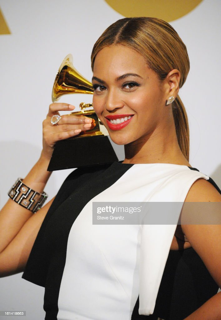 Singer Beyonce poses in the press room during the 55th Annual GRAMMY Awards at STAPLES Center on February 10, 2013 in Los Angeles, California.