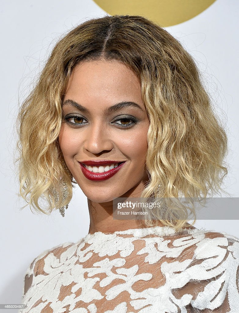 Singer Beyonce poses in the press room during the 56th GRAMMY Awards at Staples Center on January 26, 2014 in Los Angeles, California.