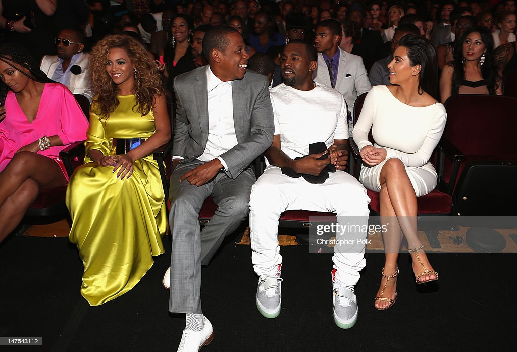 Singer Beyonce, rappers Jay-Z and Kanye West and television personality Kim Kardashian attend the 2012 BET Awards at The Shrine Auditorium on July 1, 2012 in Los Angeles, California.
